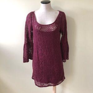 american eagle cranberry crochet bell sleeve dress